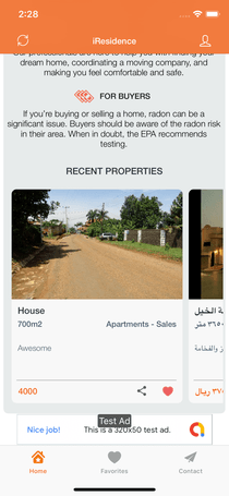 Real State iOS App Template - Add, search Properties
