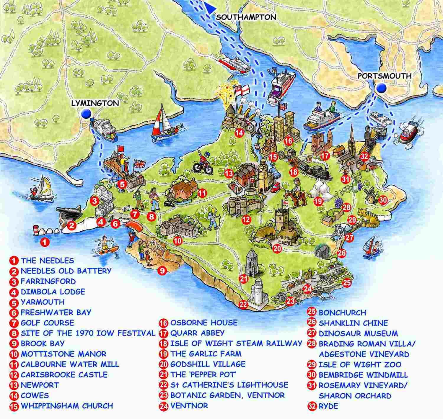 Isle Of Wight Guided Tours - Map of iow