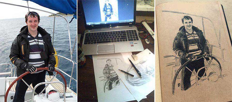 изображение процесса рисования портрета яхтсмена по фотографии для логбука