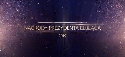 grafika plansza z logo Nagrody Prezydenta Elbląga czołówka spotu wideo