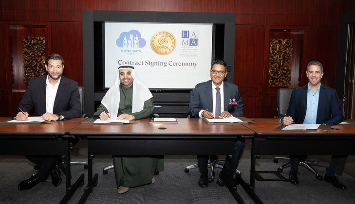 Contract Signing Ceremony: Tratok and Hotel Data Cloud Partnership with Gregor Amon, Mohammed Altajir, Amit Nayak and Kevin Czok