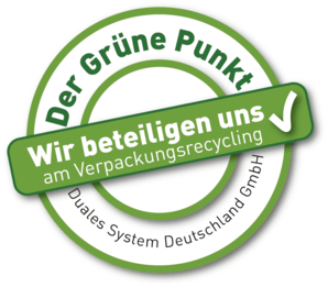 We have joined the German recycling system and has become part of the Green Dot (Der Grüne Punkt)