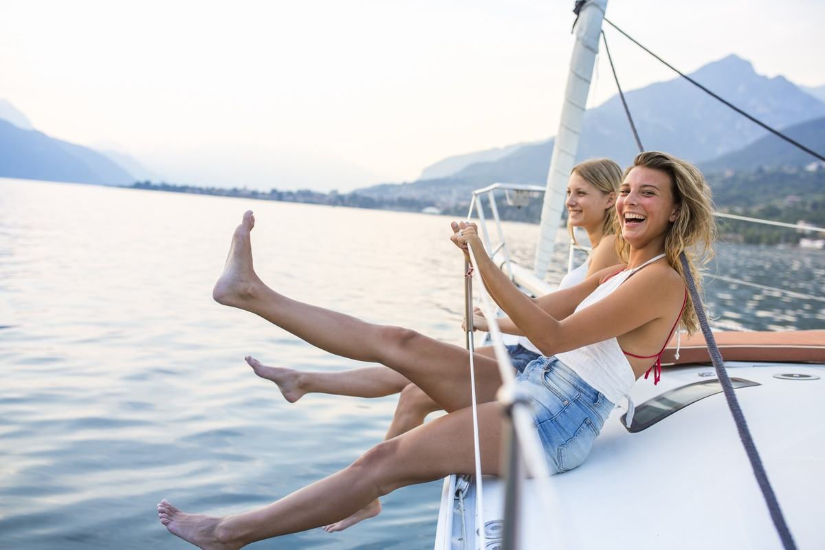 woman on boat happy