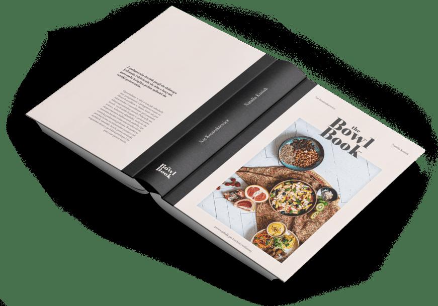 The Bowl Book album kulinarny w wersji kolorystycznej jasnej. Zawiera roślinne przepisy na szybkie, proste i zdrowe posiłki w duchu zero waste.
