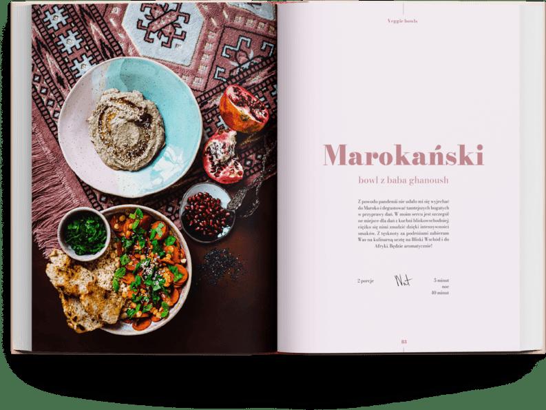 Przepis na wegański bowl marokański z książki kucharskiej The Bowl Book z aromatyczną marchewką i baba ghanoush