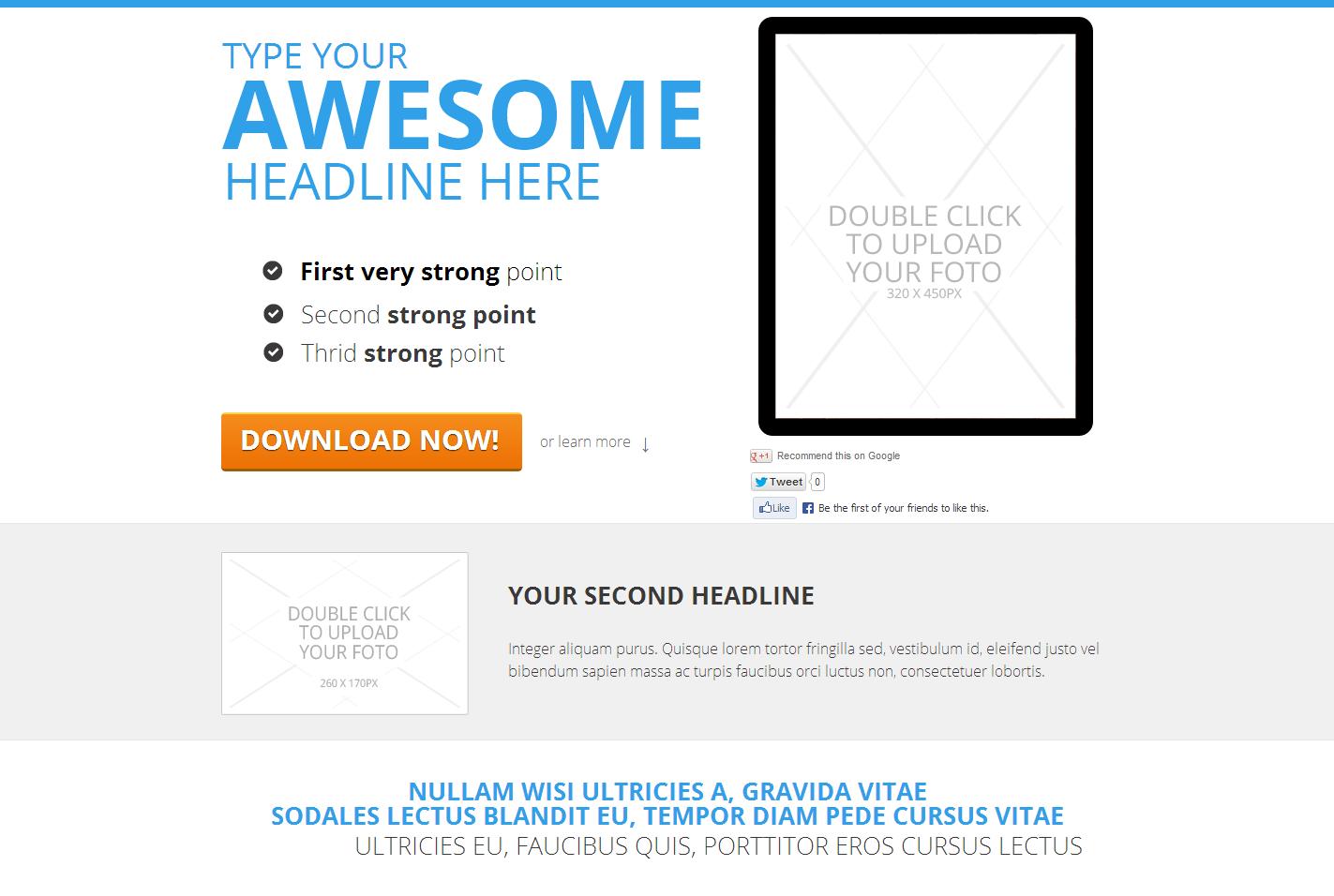 szablon landing page