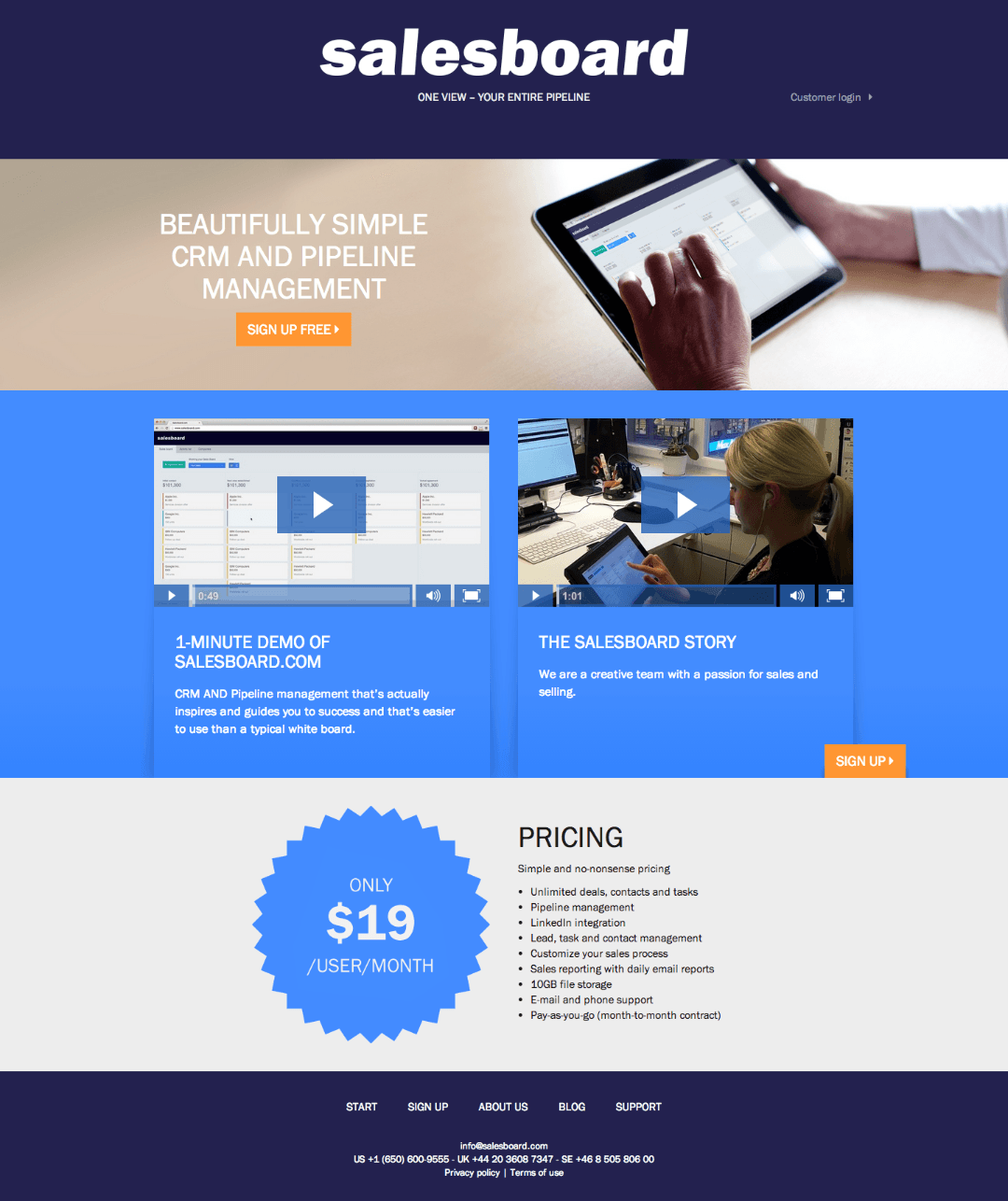 b2b landing page optimization salesboard