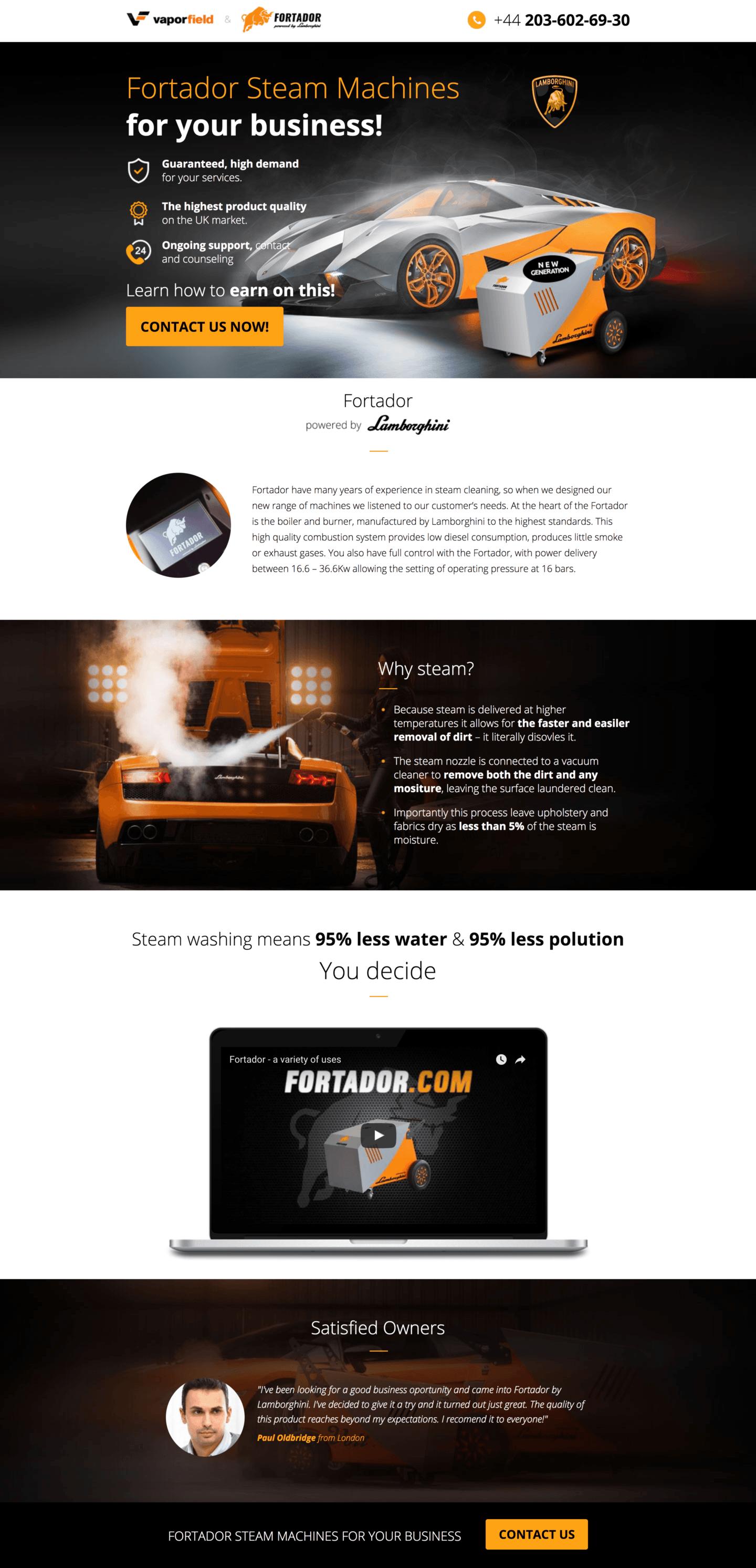 Our work - steam machine landing page
