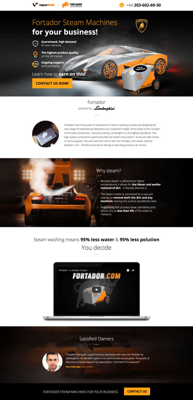 Our work - steam machine landing page