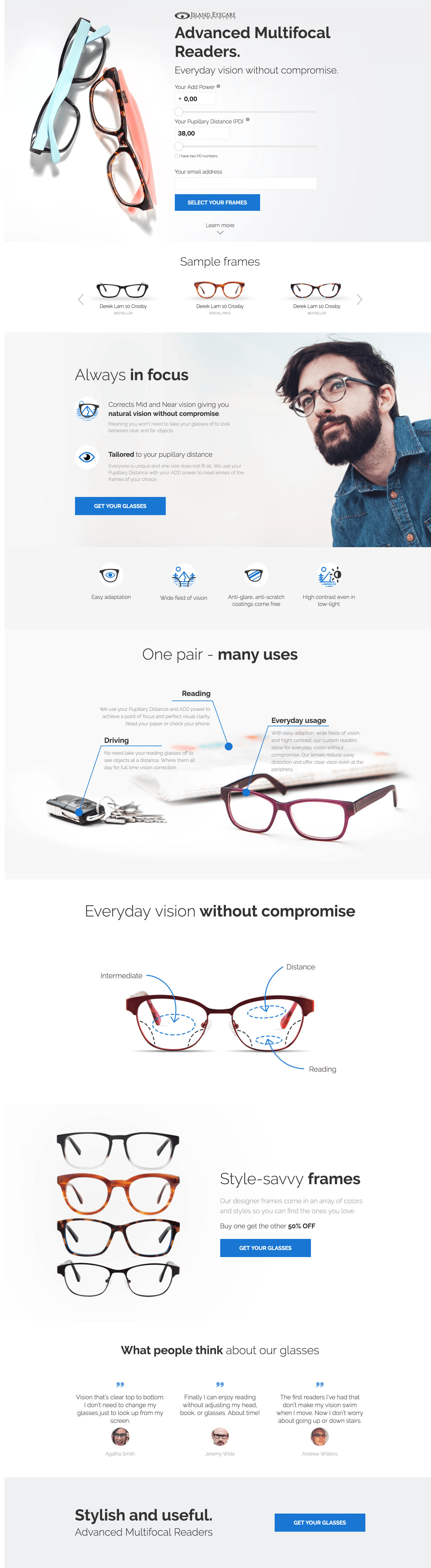 Our works - eye glasses landing page