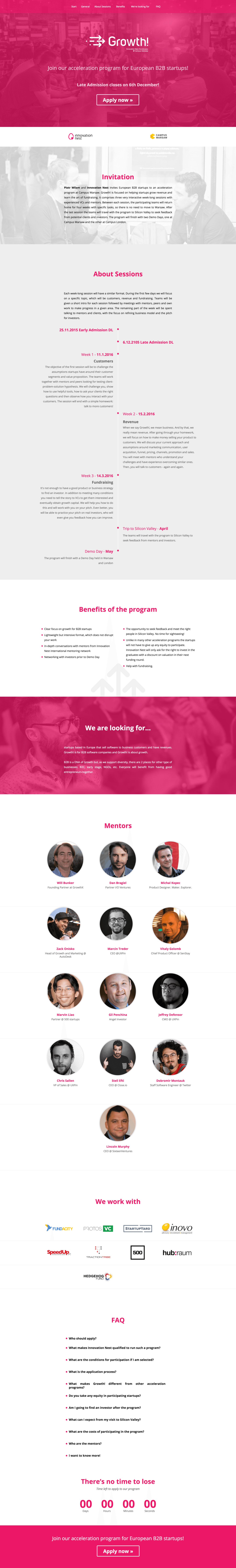 Our works - growth landing page