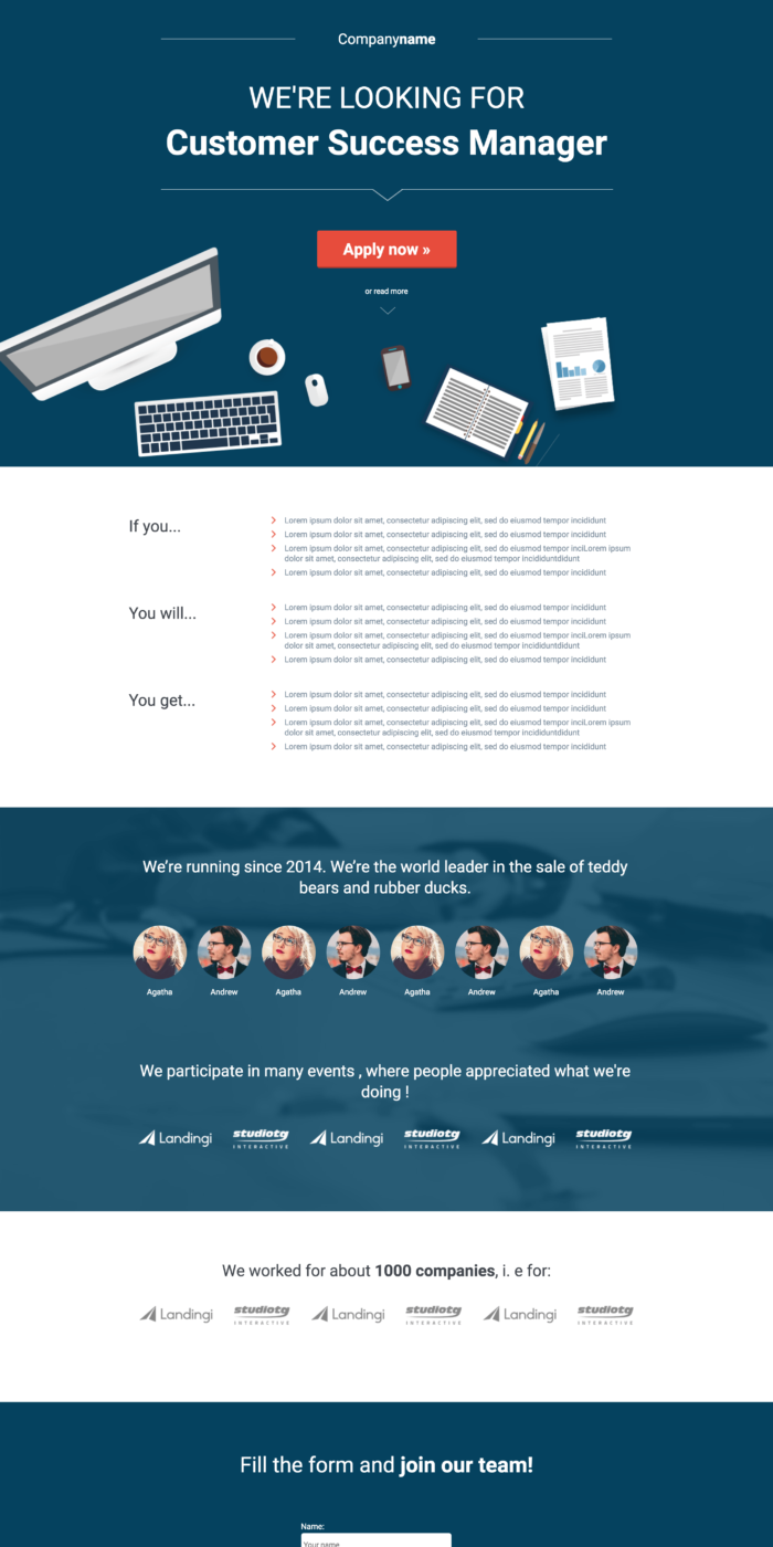 Simple Newsletter Landing Page Template Landingi