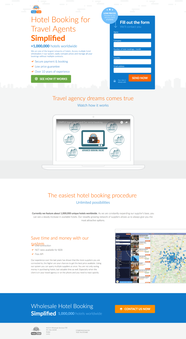 Our works - travel landing page