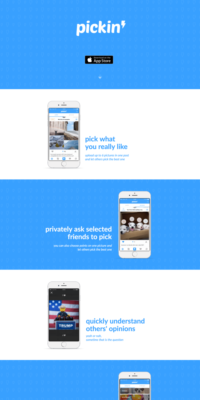 Our works - moible app landing page