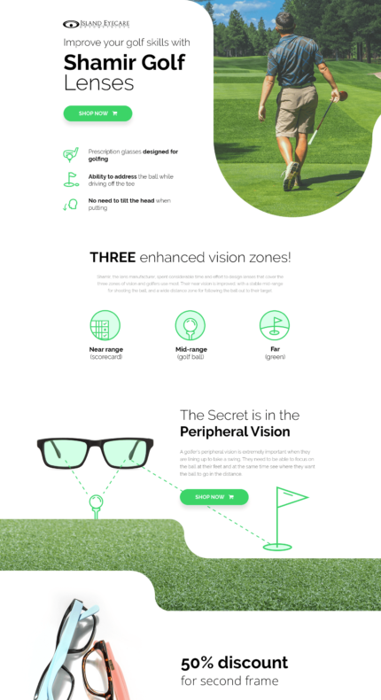 Our works - Golf landing page