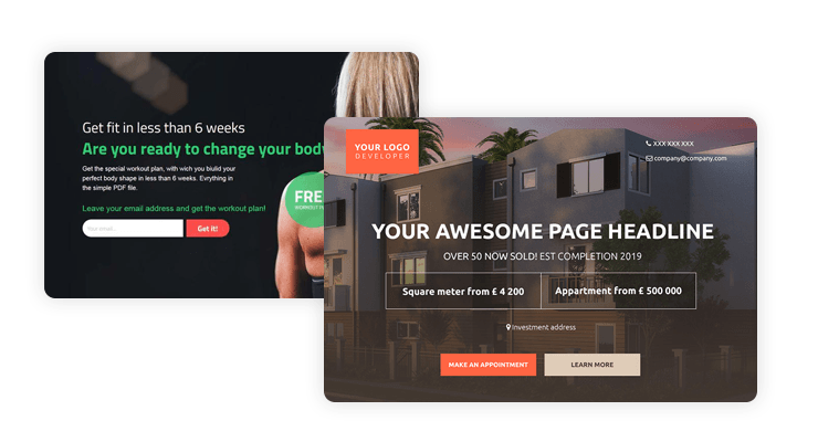 Landing Page builder for agencies custom templates