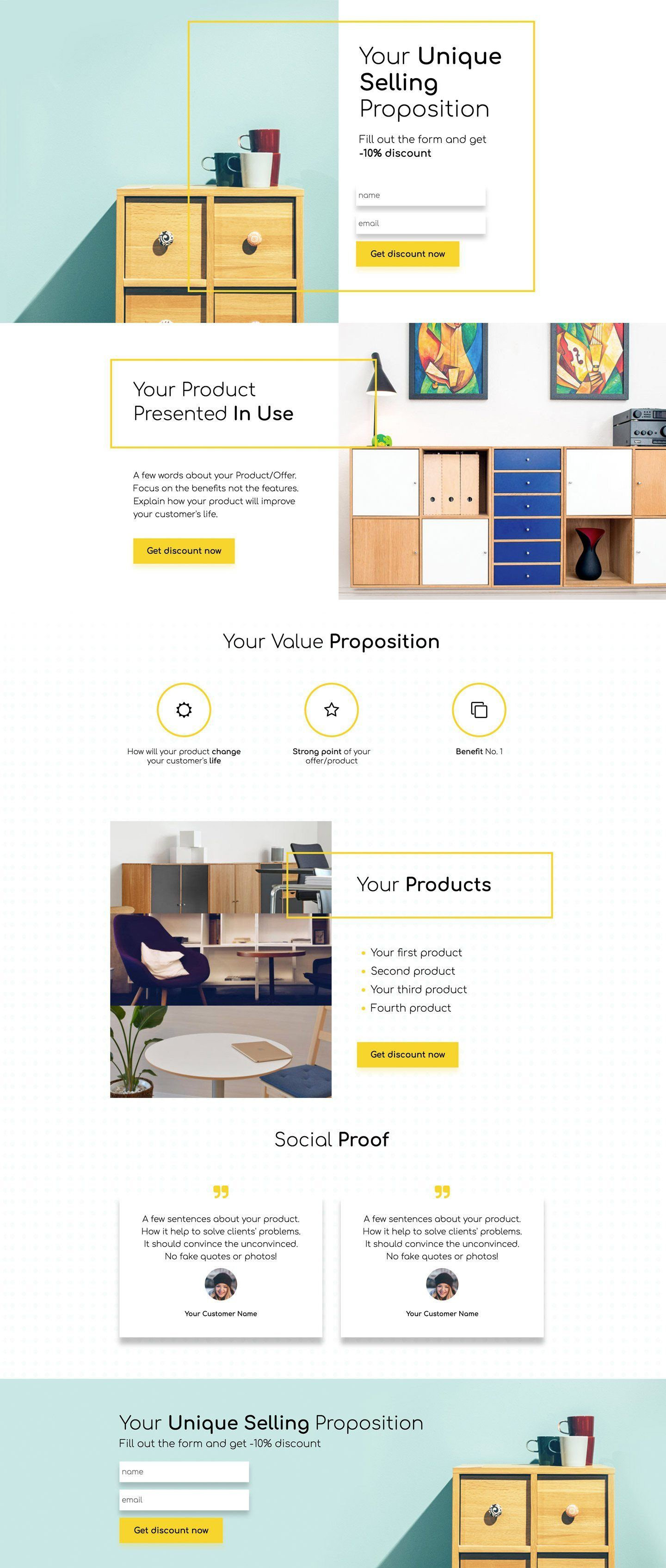 Discount for furniture landingi inform about a sale present strong product features and hook customers with favorable reviews maxwellsz