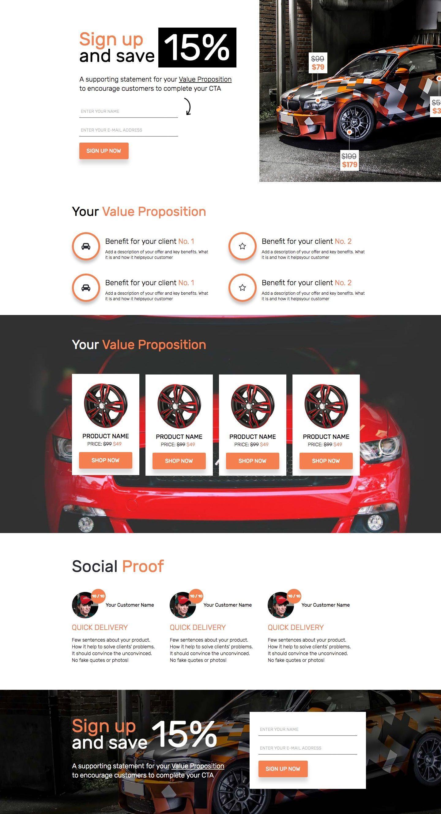automotive newsletter - landing page template | landingi