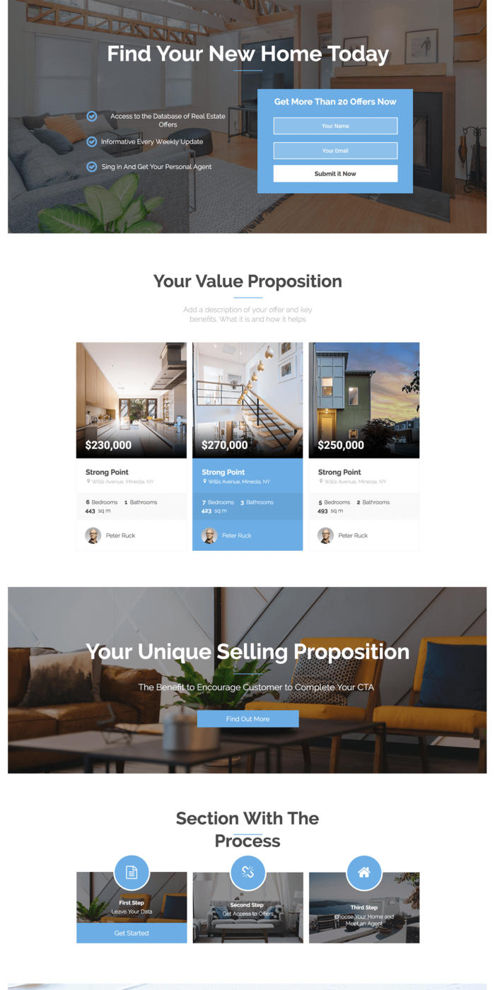 Real Estate  Landing Page Templates  Landingi