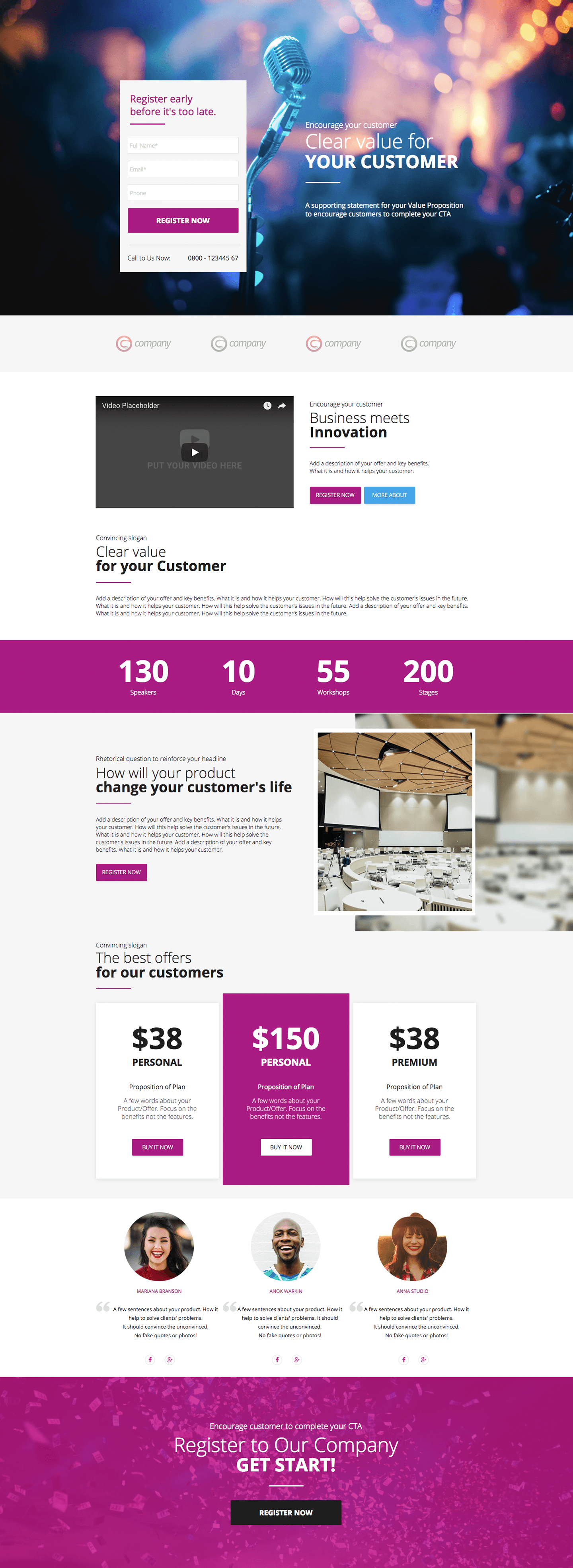 Famous Event Landing Page Template Collection - Resume Ideas ...