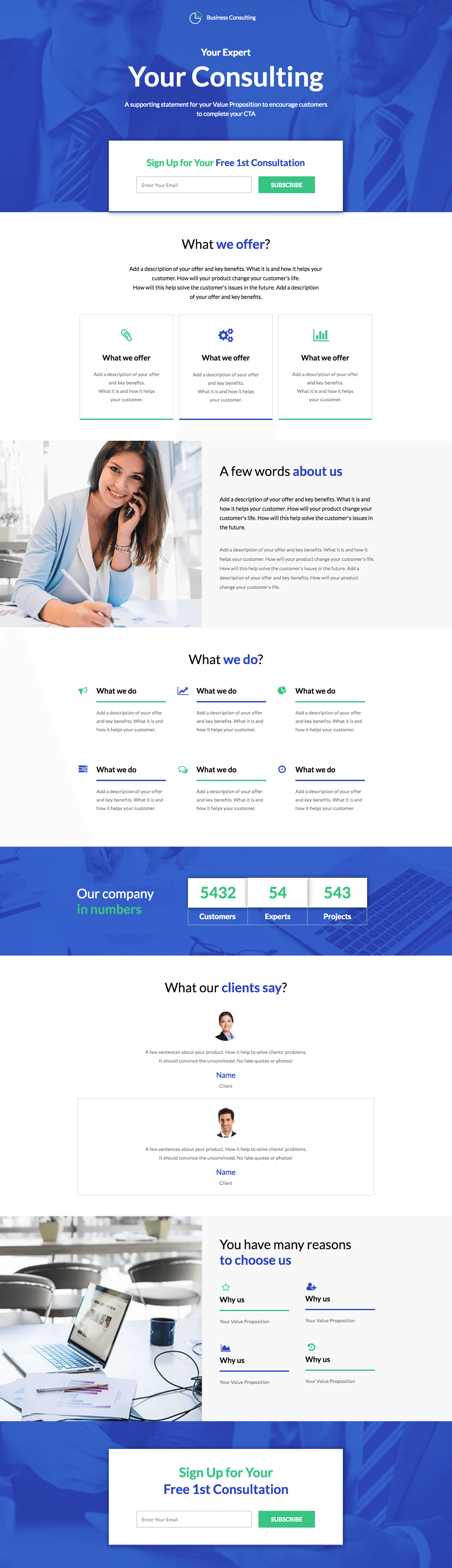 Business newsletter landing page template landingi business newsletter landing page template fbccfo Gallery