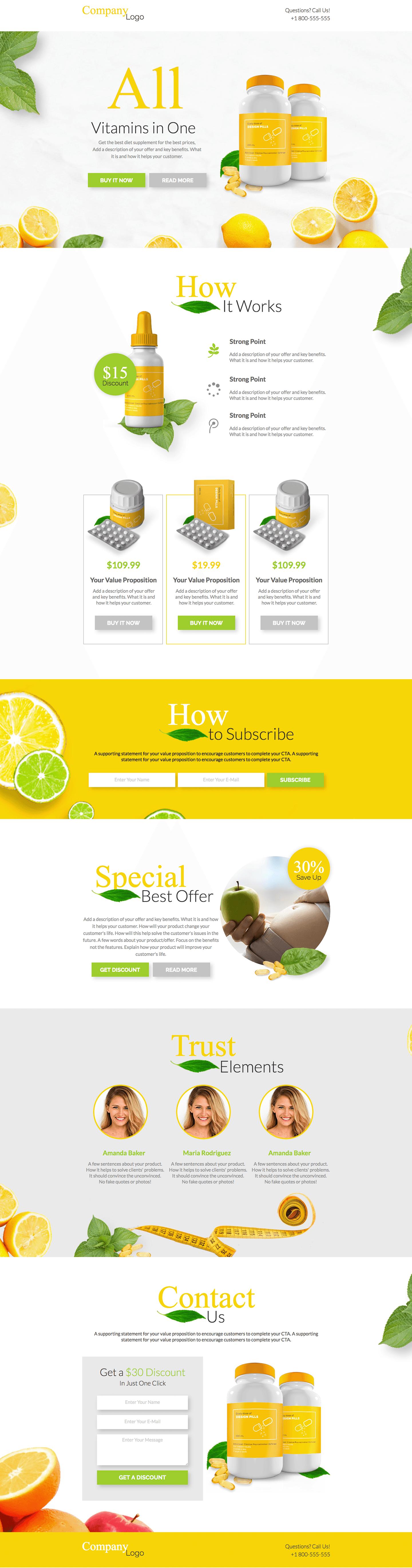 Dietary Supplements Landing Page Template Landingi