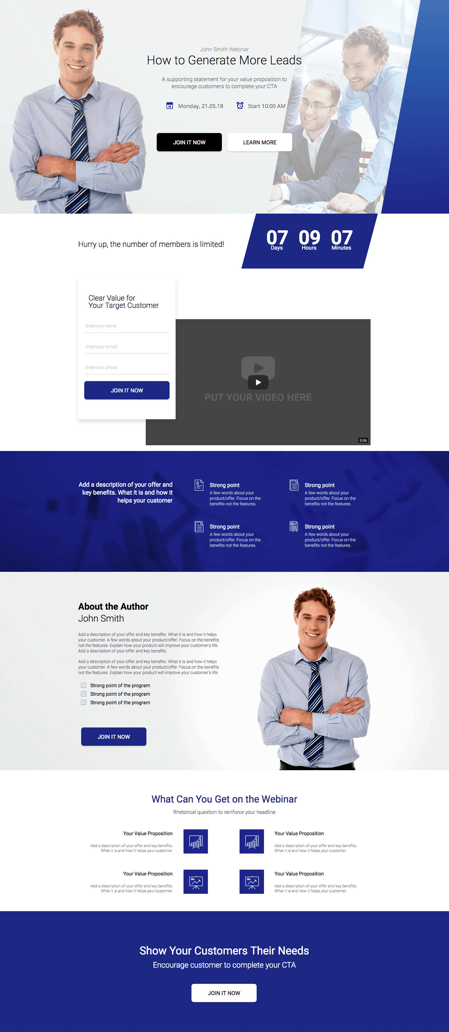 Lead Generation Webinar - Landing Page Template | Landingi