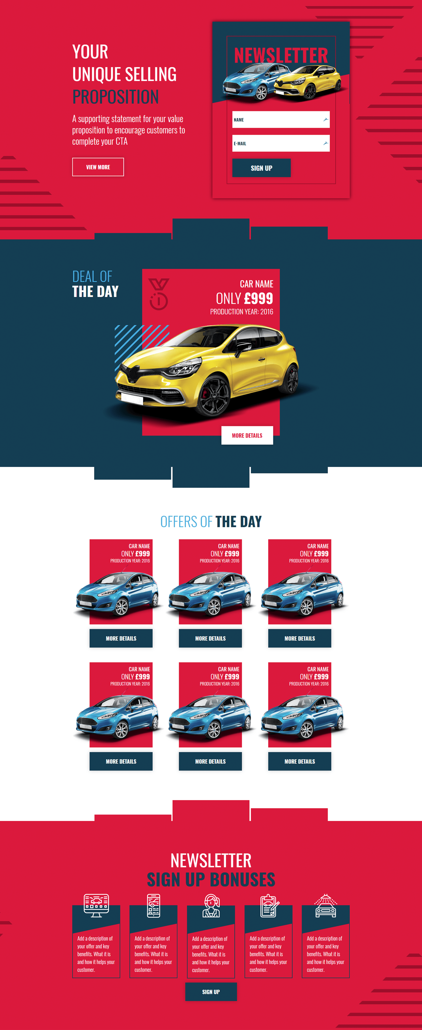 car newsletter - landing page template | landingi