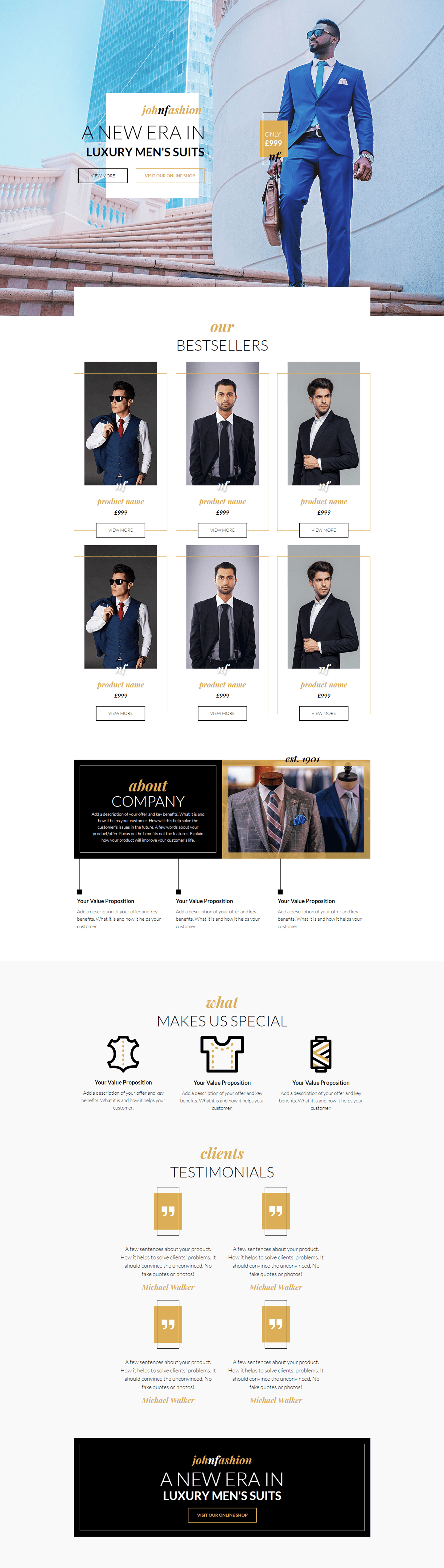Men s Fashion Landing Page Template