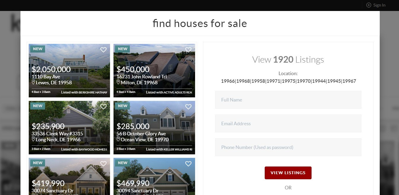 Find Houses For Sale Landing Page