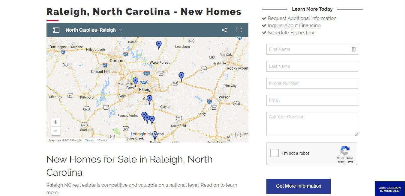 Landing Page Example - Adams Homes