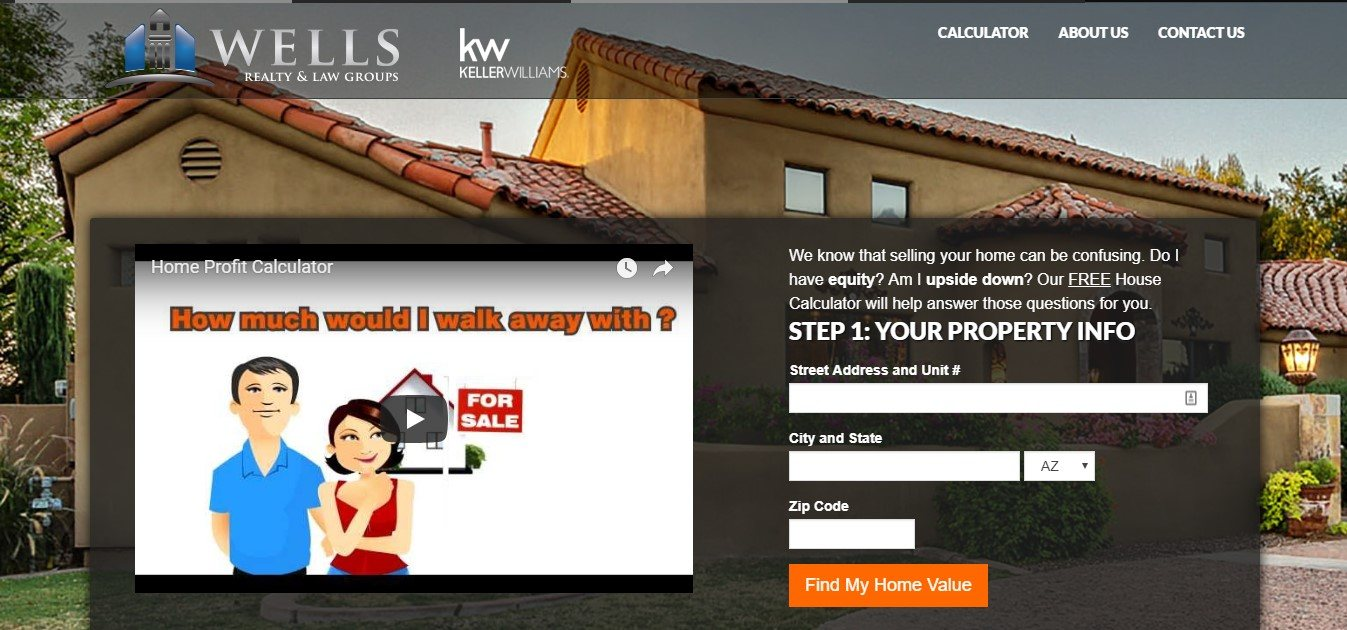 Landing Page Example - Wells Realty & Law Groups