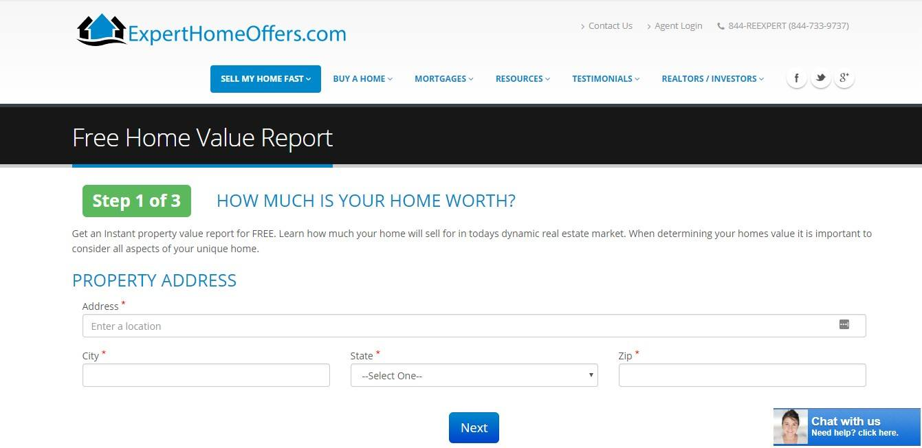 Landing Page Examples - ExpertHomeOffers