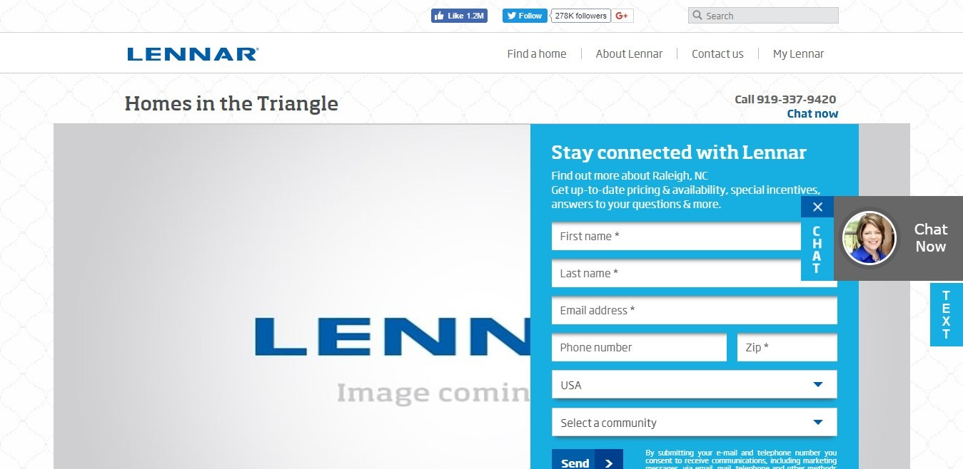 Landing Page Example - Lennar