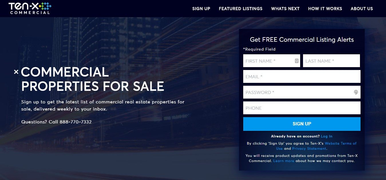 Landing Page Examples - Ten-X Commercial