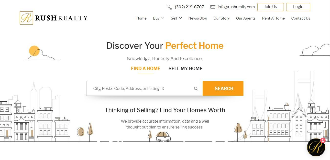 Landing Page Examples - Rush Realty