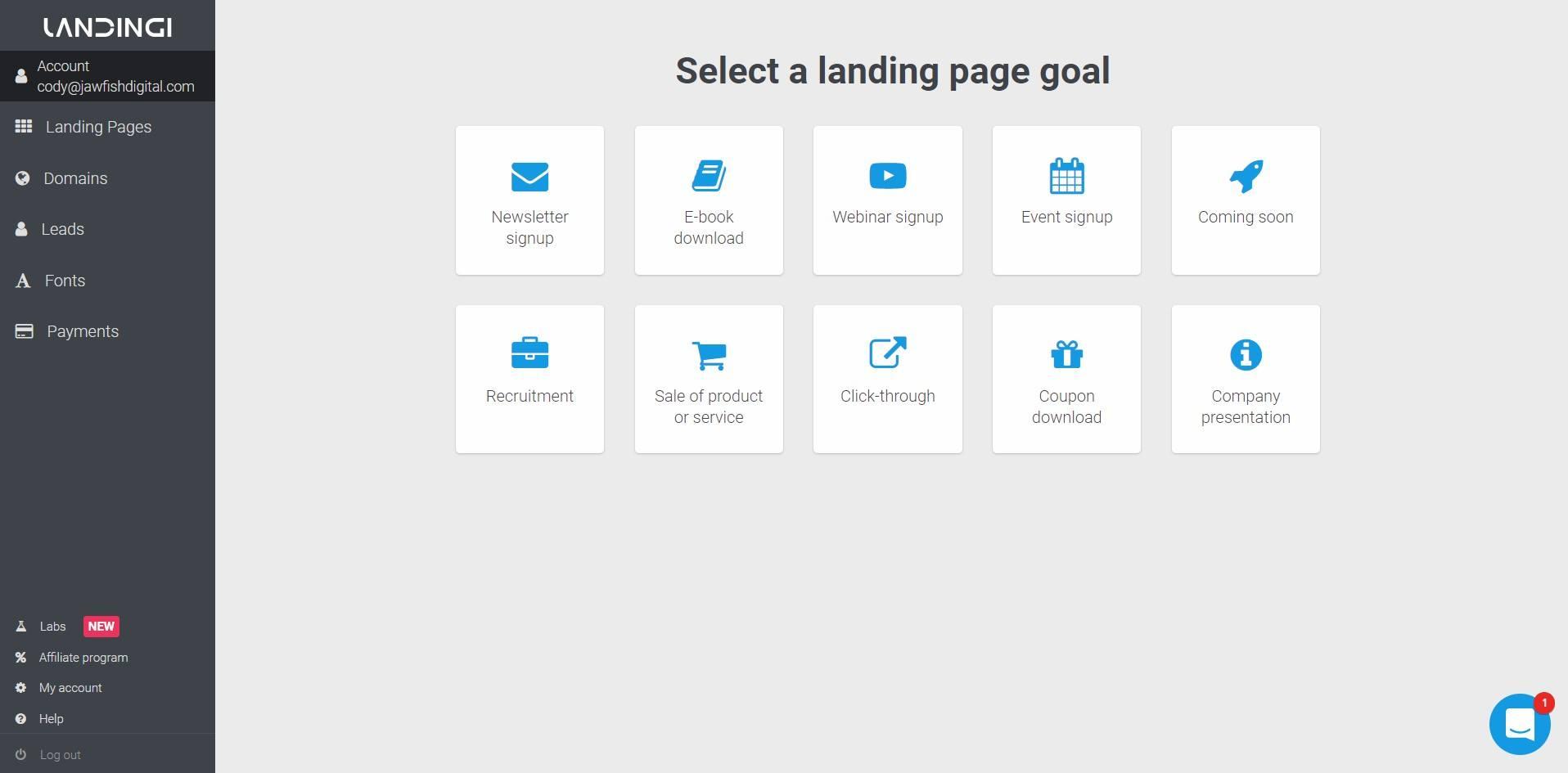 Landingi Landing Page Platform Goals