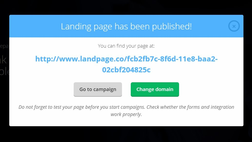 Landingi Landing Page Builder Publish