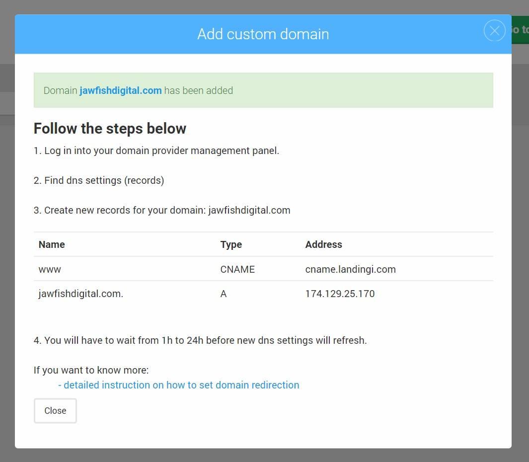 Landingi Landing Page Platform Domain Configuration