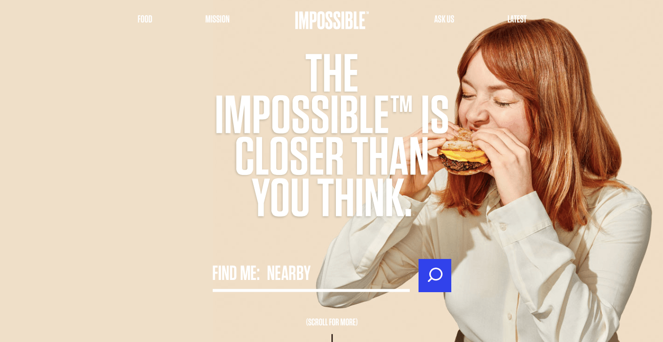 Ecommerce Landing Page Example Impossible Burger