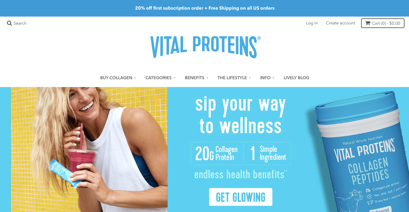 Ecommerce Landing Page Example Vital Proteins Collagen