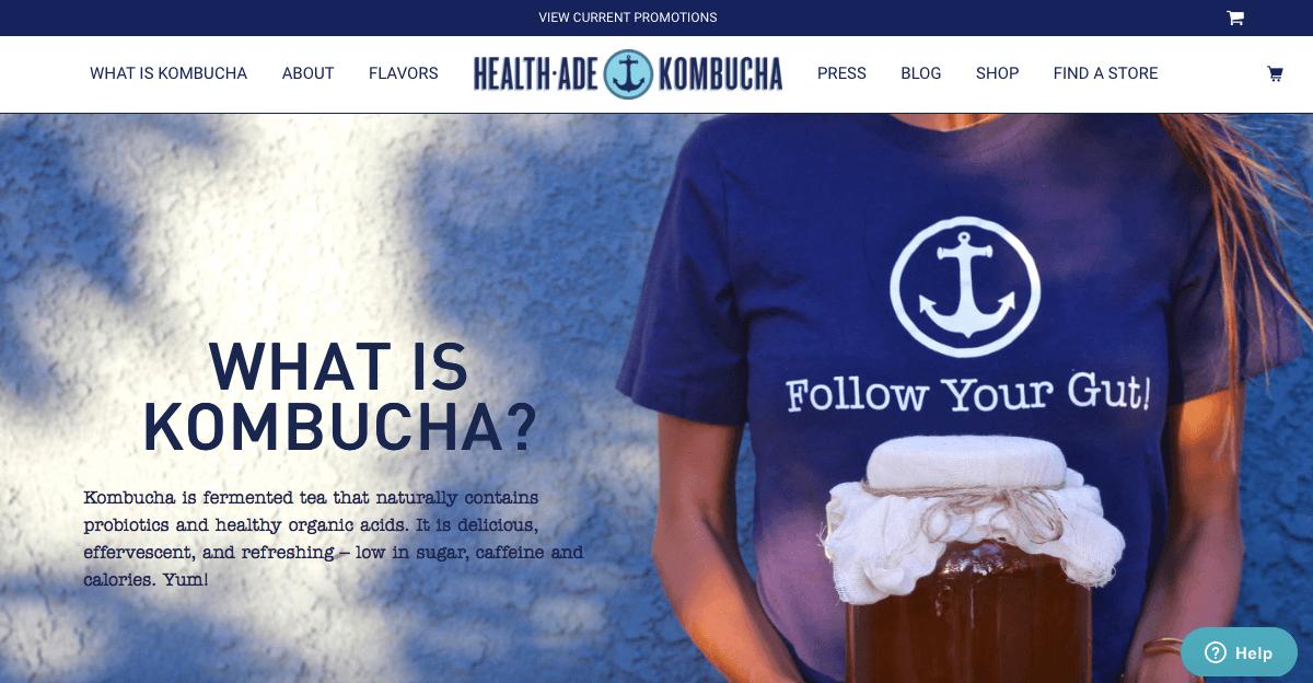 Ecommerce Landing Page Example Health-Ade Kombucha