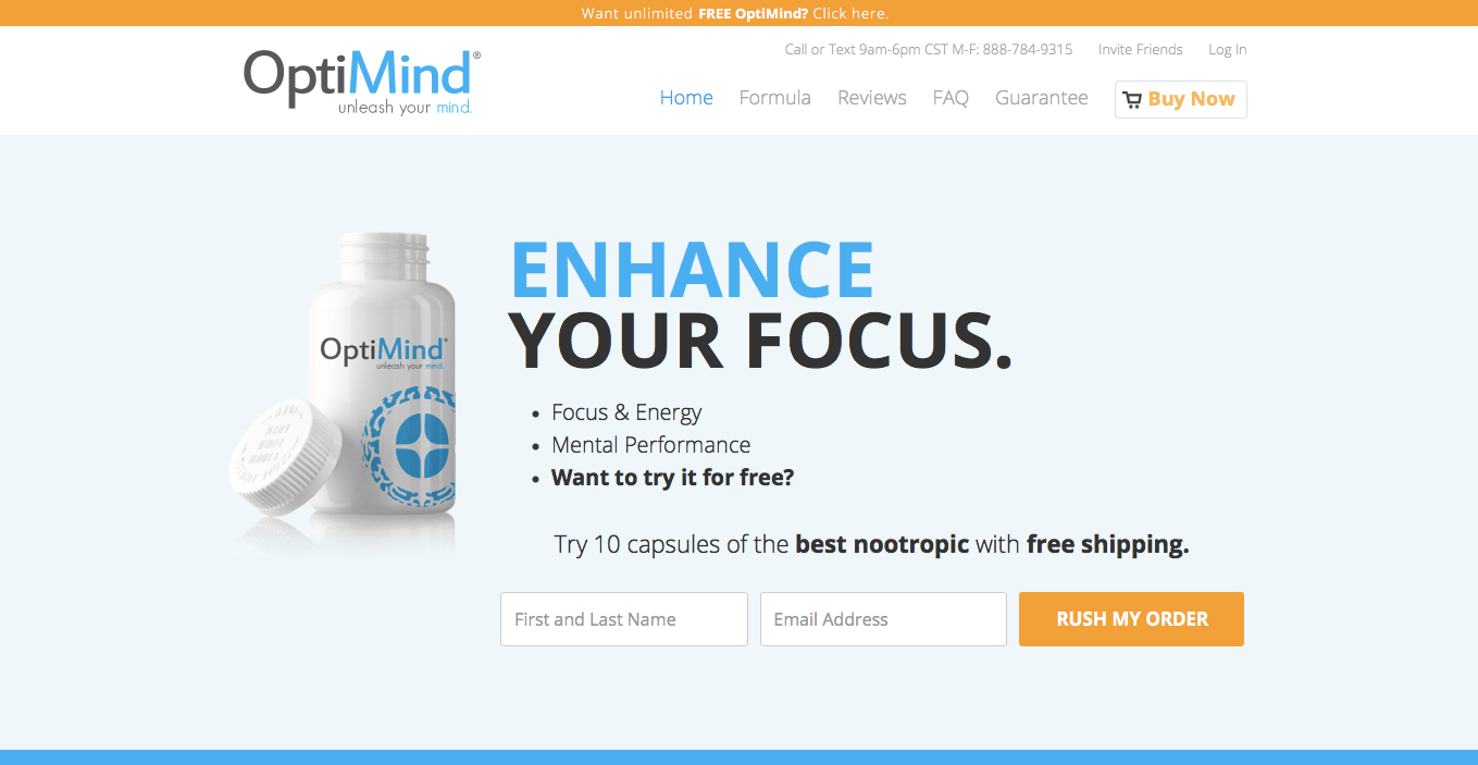Ecommerce Landing Page Example Optimind Focus Supplement
