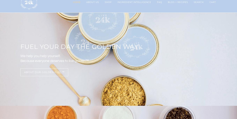 Ecommerce Landing Page Example Live 24k Golden Milk