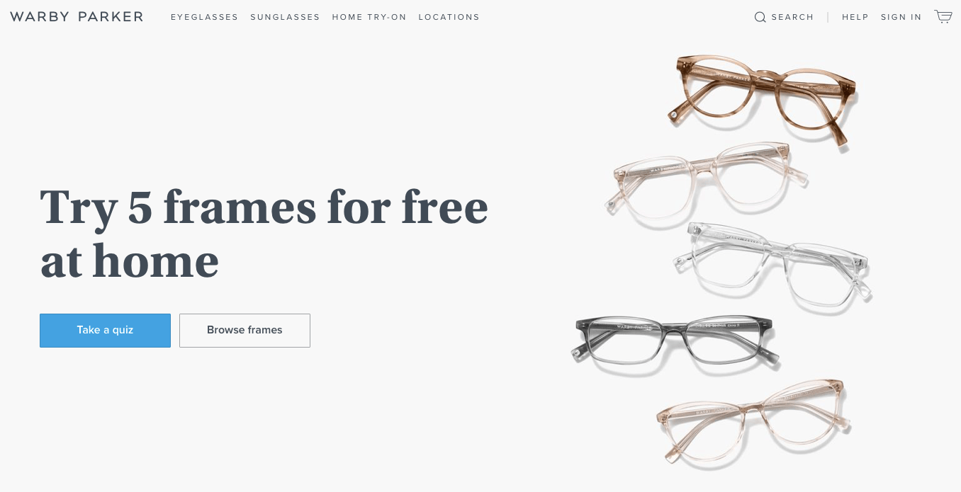 Ecommerce Landing Page Example Warby Parker