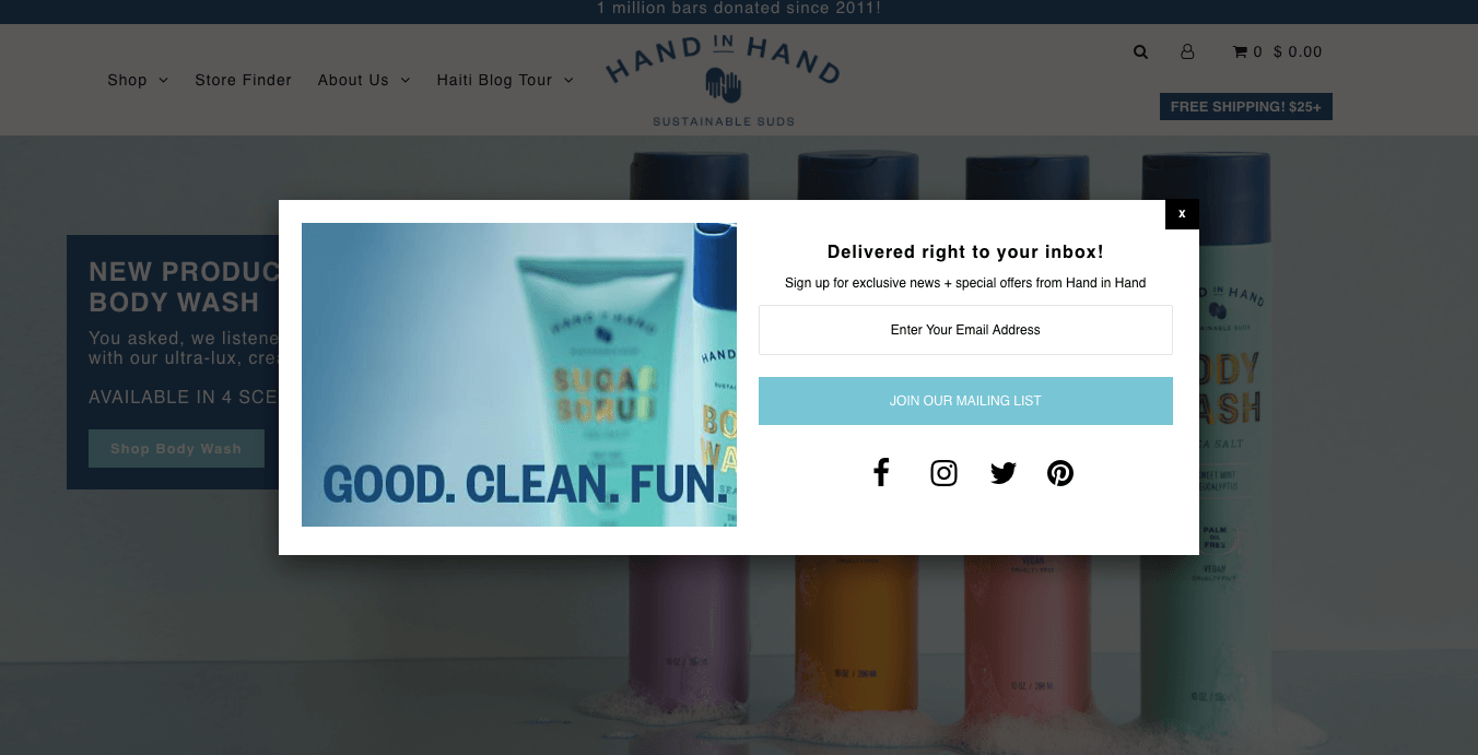 Ecommerce Landing Page Example Hand in Hand