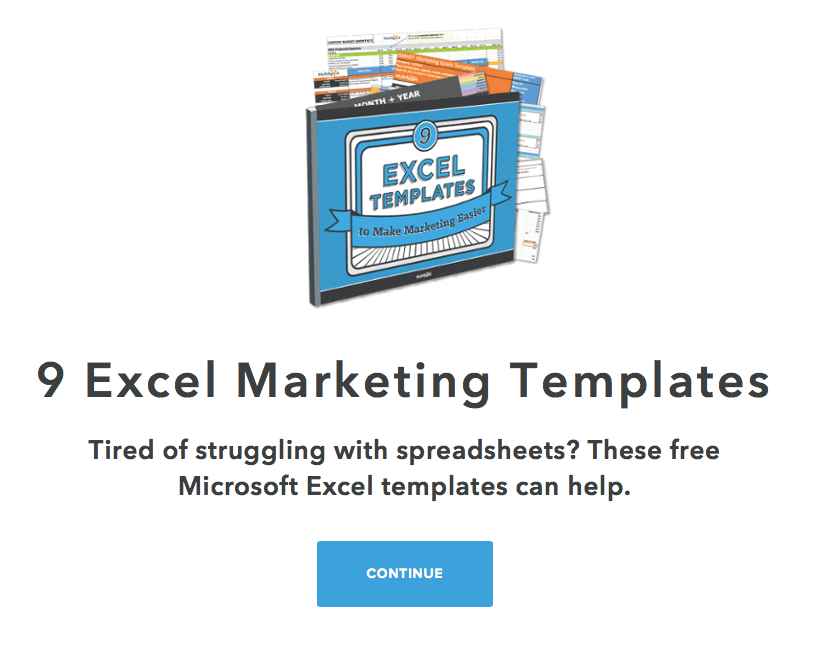 Excel- landing page heading