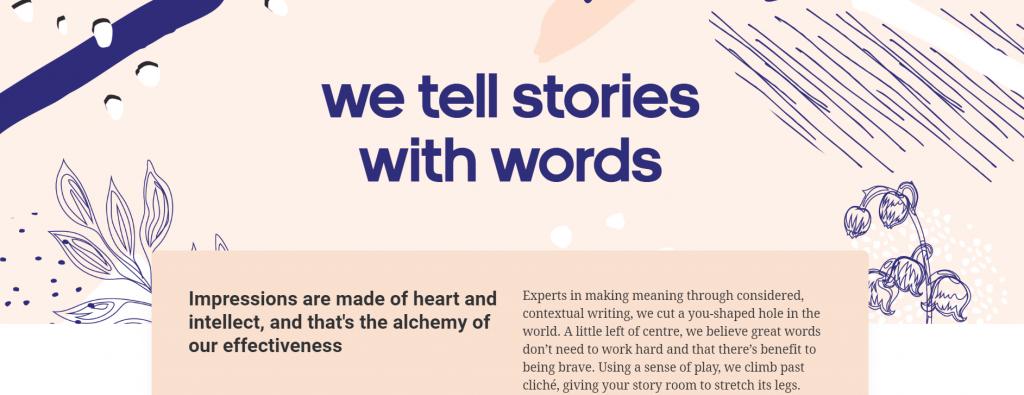 Storytelling landing page image