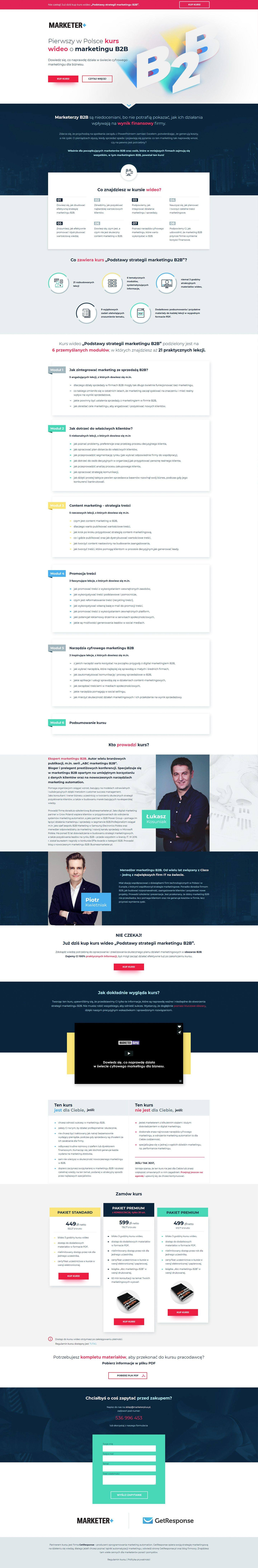Marketer+ Marketing Course Landing Page