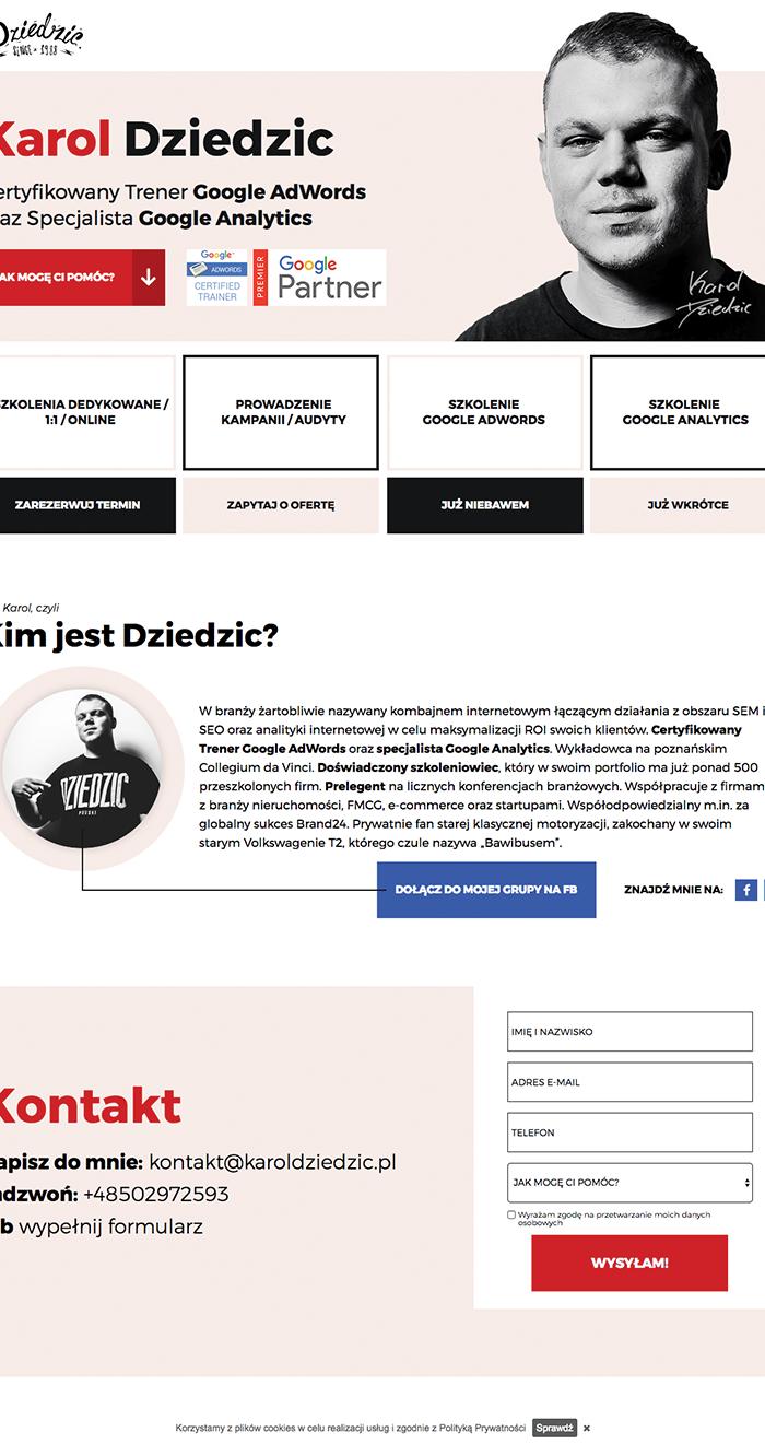 Karol Dziedzic Coach Landing Page